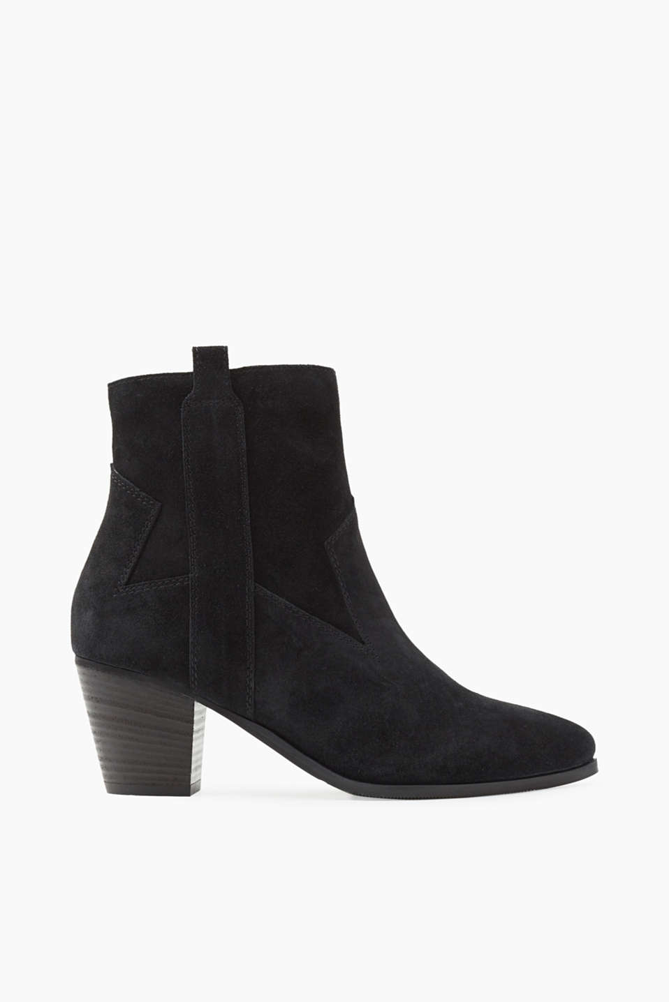 With a practical inside zip and a block heel: Ankle boots made of suede cowhide