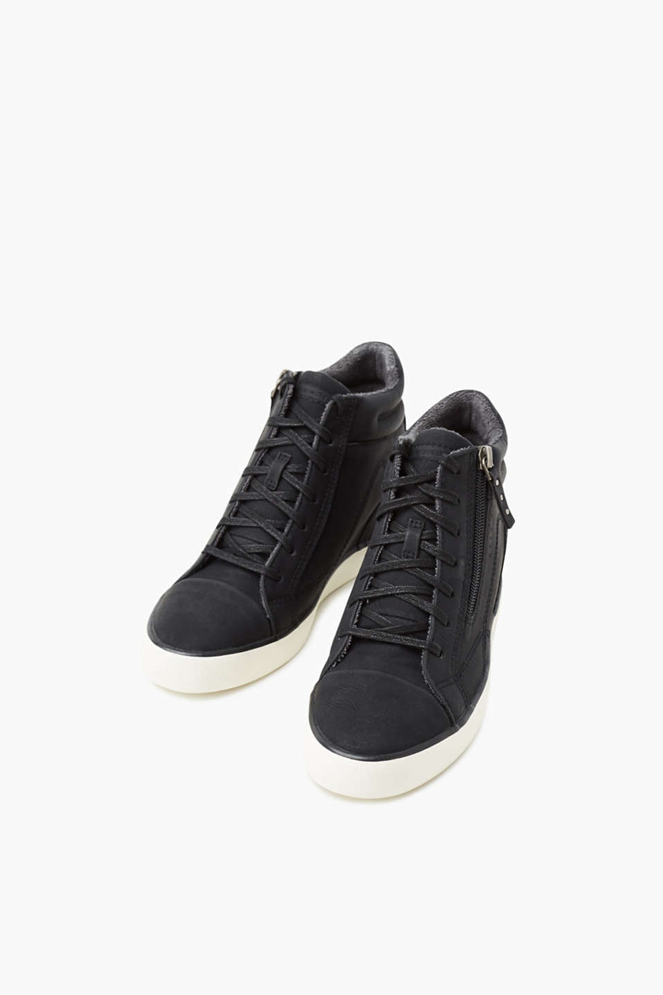 Wedge trainers in faux nubuck leather