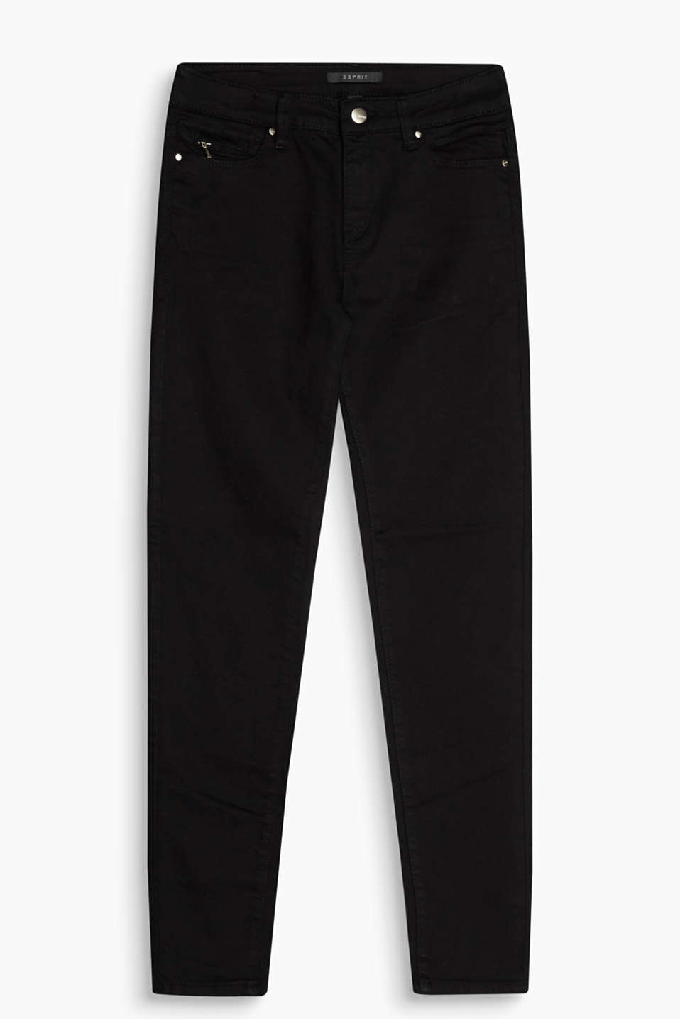 Cropped, jet black stretch jeans with a small zip pocket