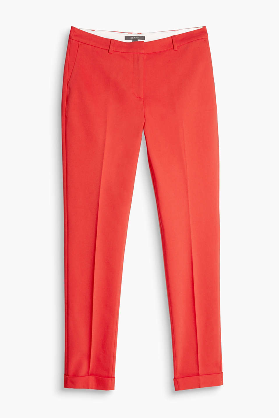 Double weave stretch trousers with turn-up hems