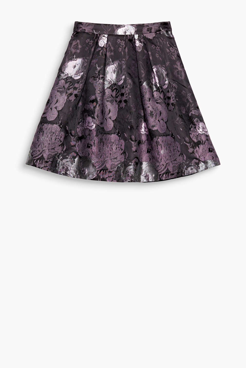 Swirling party skirt with shimmering jacquard flowers
