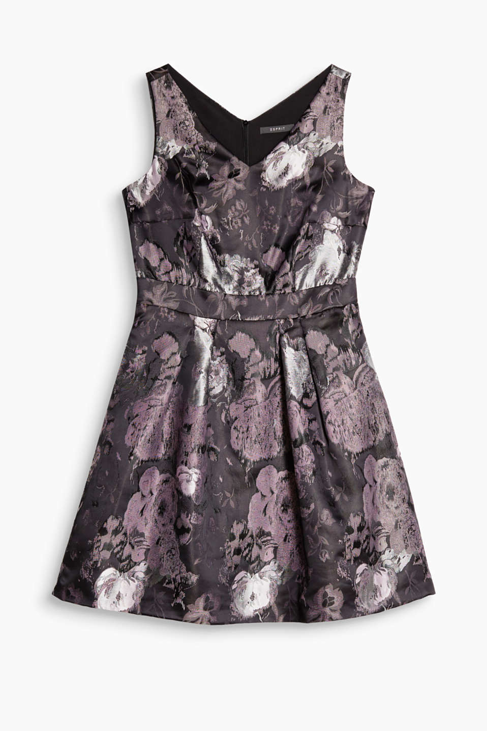 Satin dress with a floral jacquard pattern, double V-neck and flared skirt