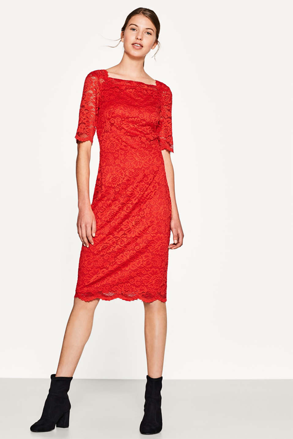 Lace dress with a square neckline