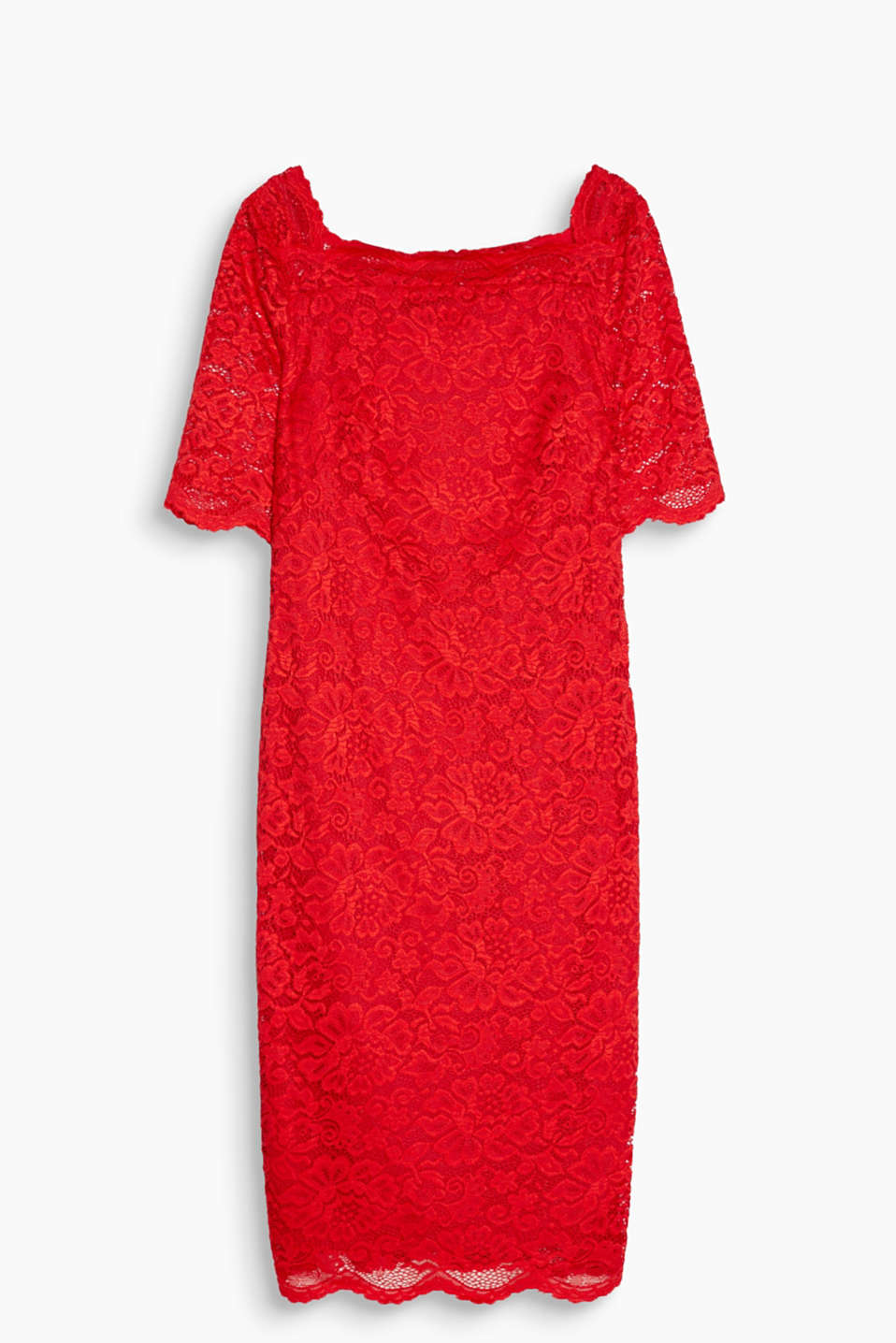 Dress in elasticated lace with a feminine square neckline