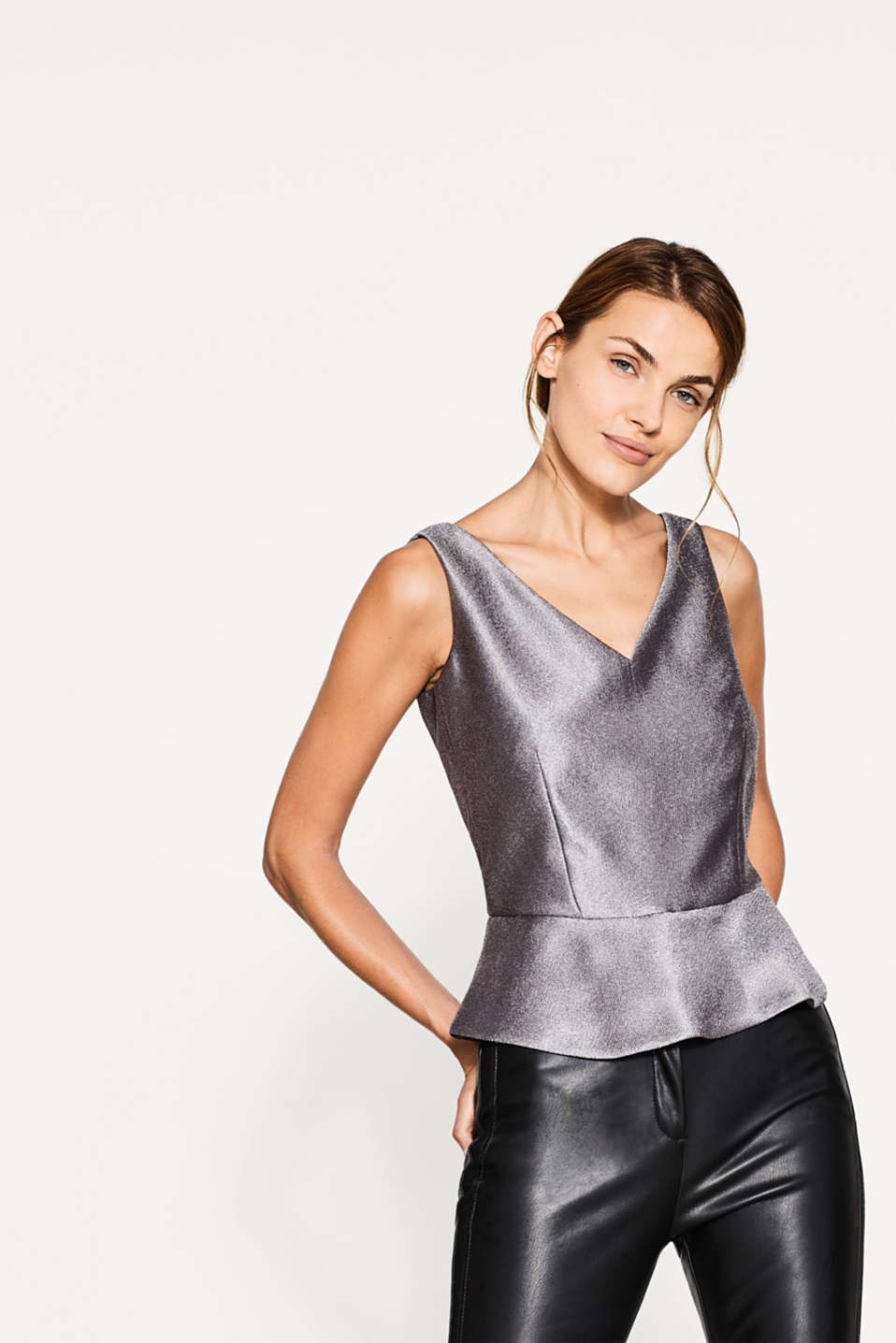 Esprit - Shiny woven top with a fine texture