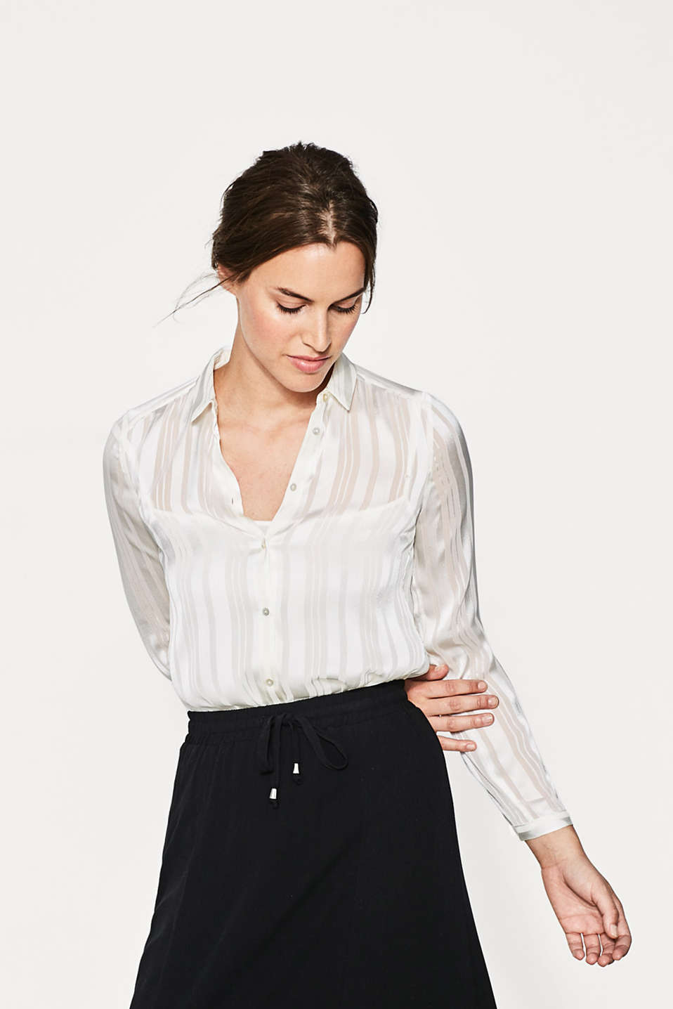 Esprit - 2-In-1 blouse with sheer stripes