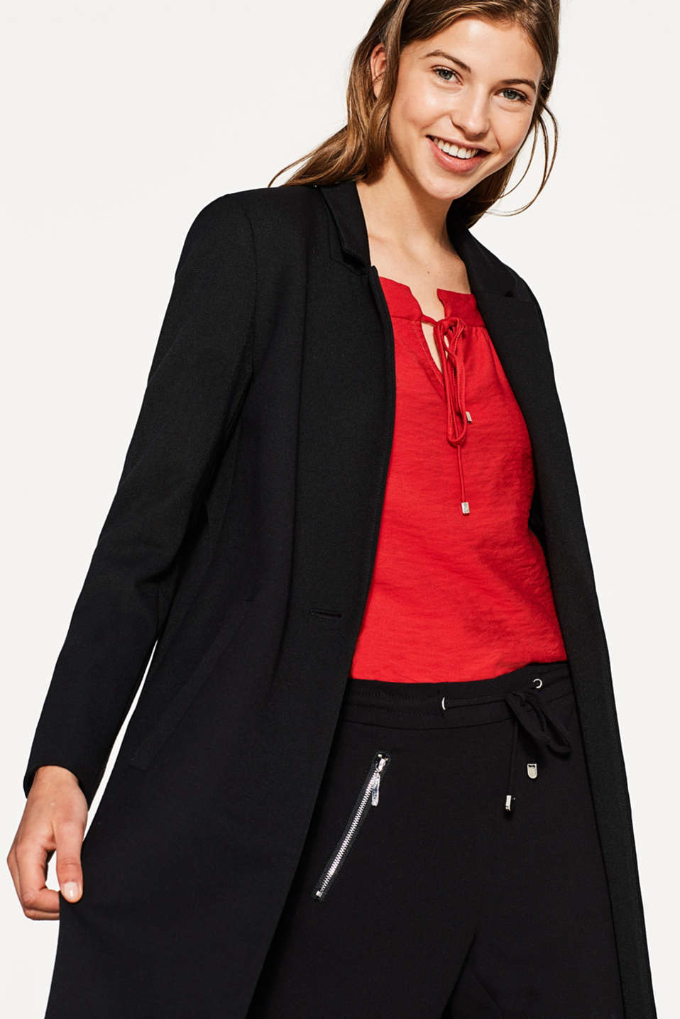 Textured blouse with a square neckline