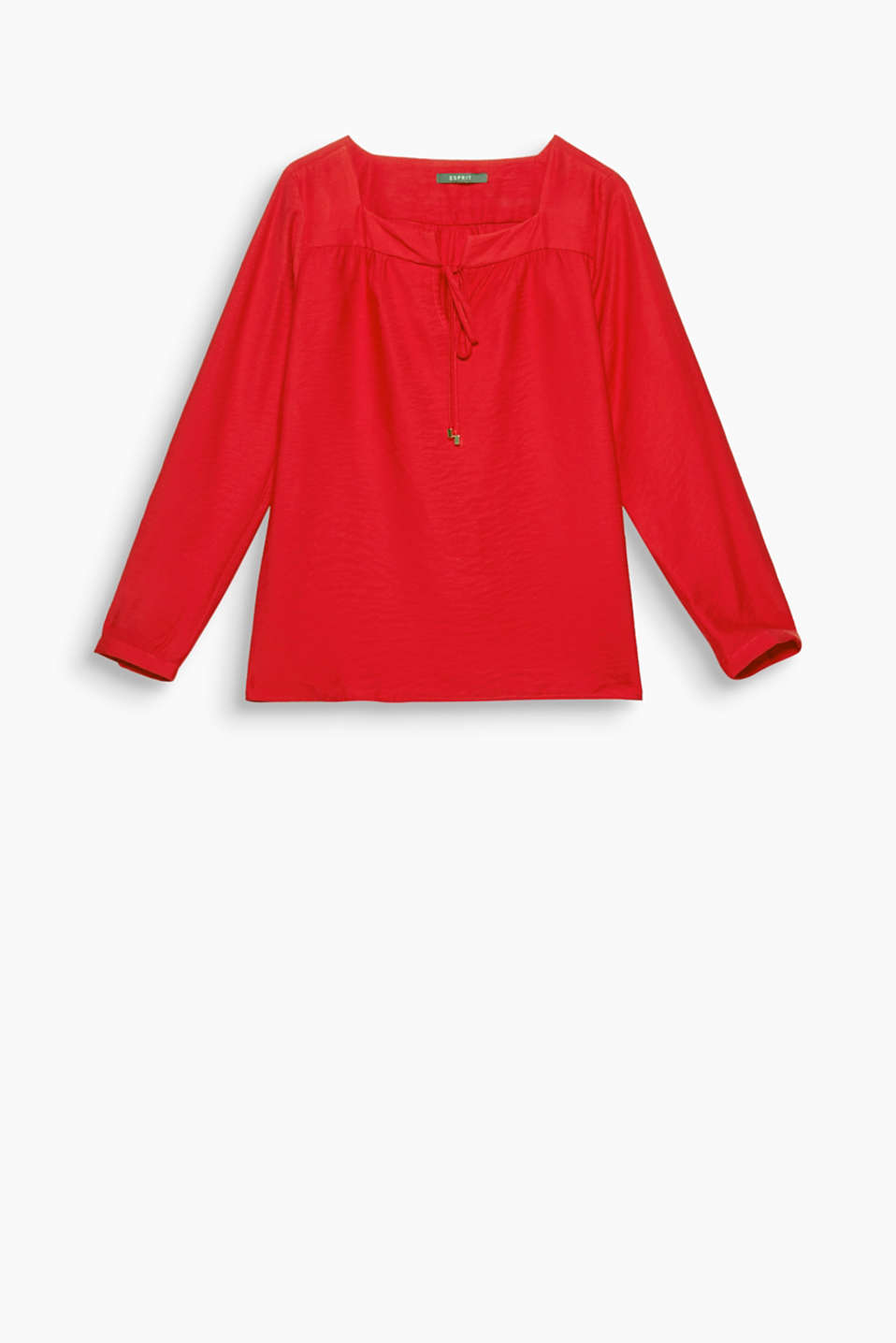 Stylish, office-ready tunic: flowing, textured blouse with a square neckline and ties