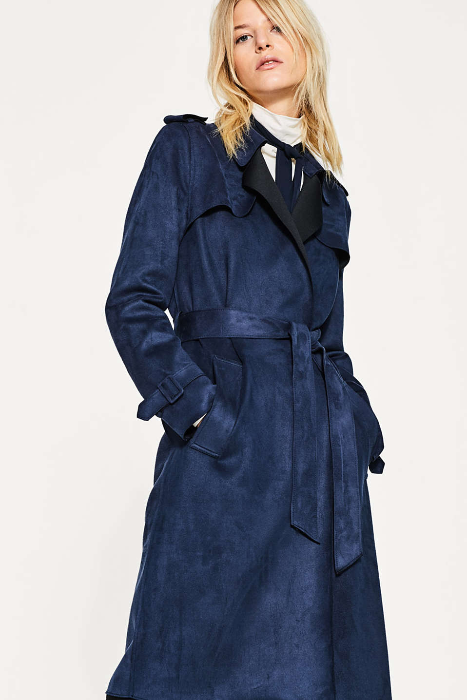 Esprit - Long trench coat in velvety imitation suede