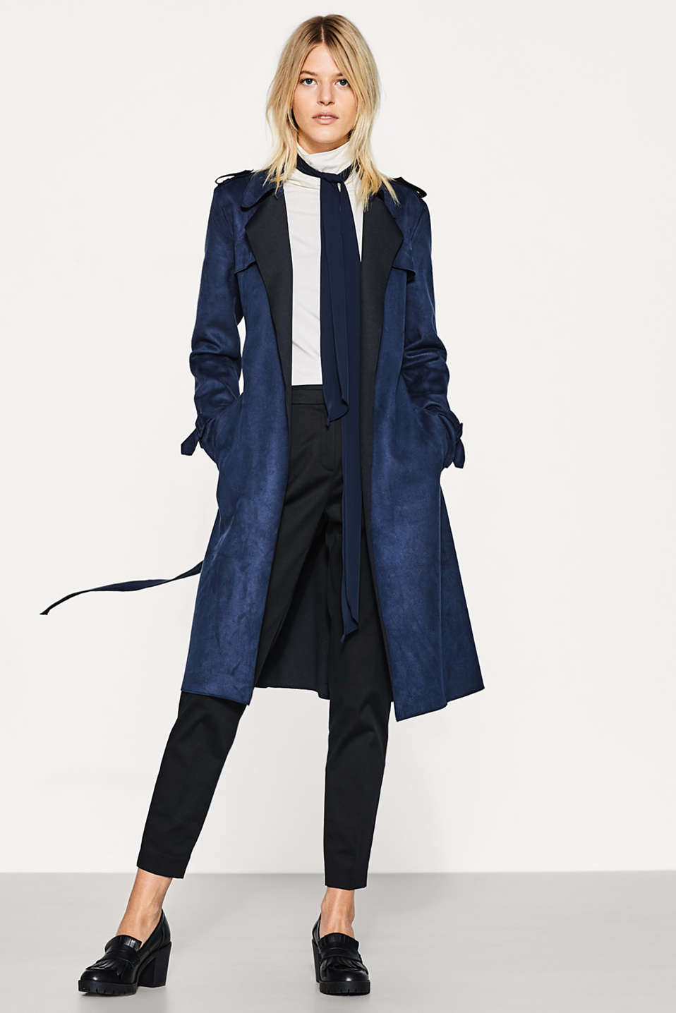 Long trench coat in velvety imitation suede