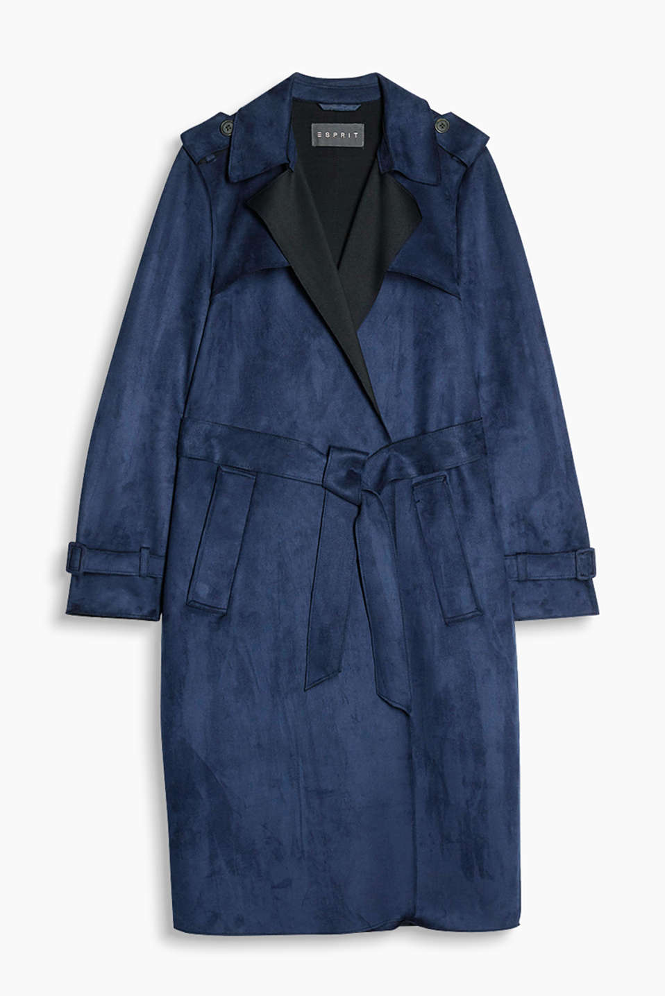Elegant, casual and easy-care: stylish long trench coat in soft imitation suede with a contrasting colour reverse