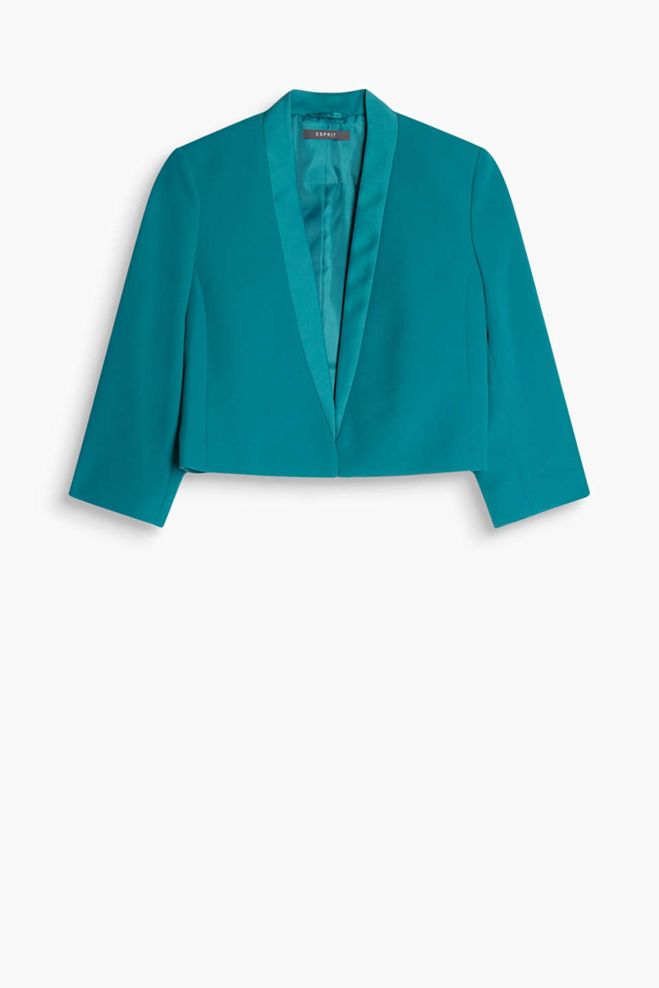 Cropped crêpe blazer in a dinner jacket style with a satin lapel and three-quarter length sleeves