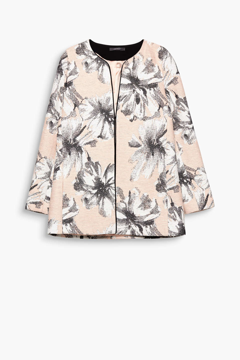 Coat with jacquard flowers, blended cotton