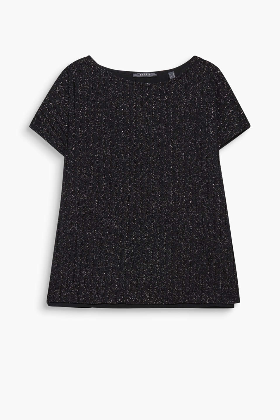 Laid-back, layered T-shirt with semi-transparent stripes and a subtle shimmer