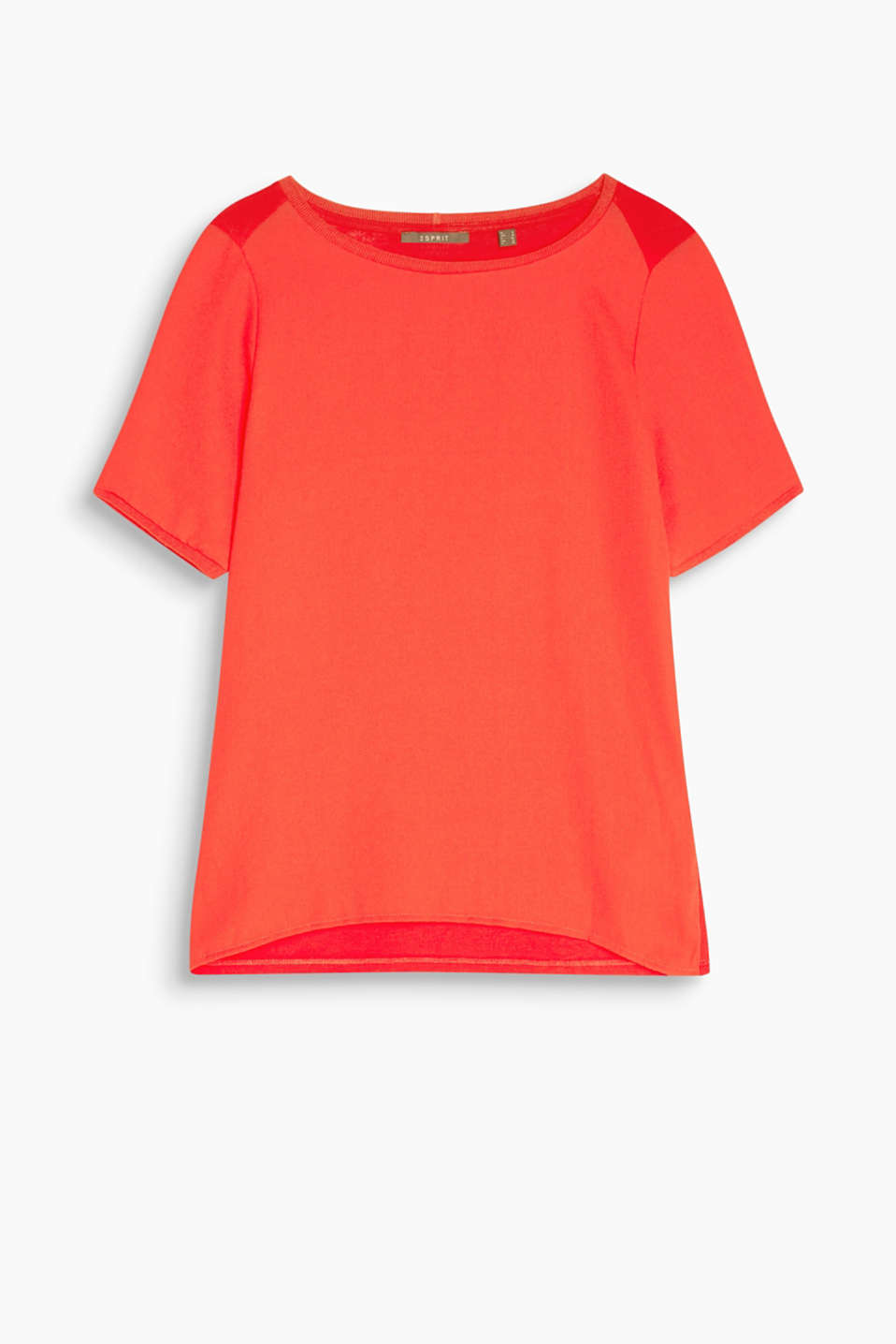 In a material mix with a crêpe front: T-shirt with a round neckline