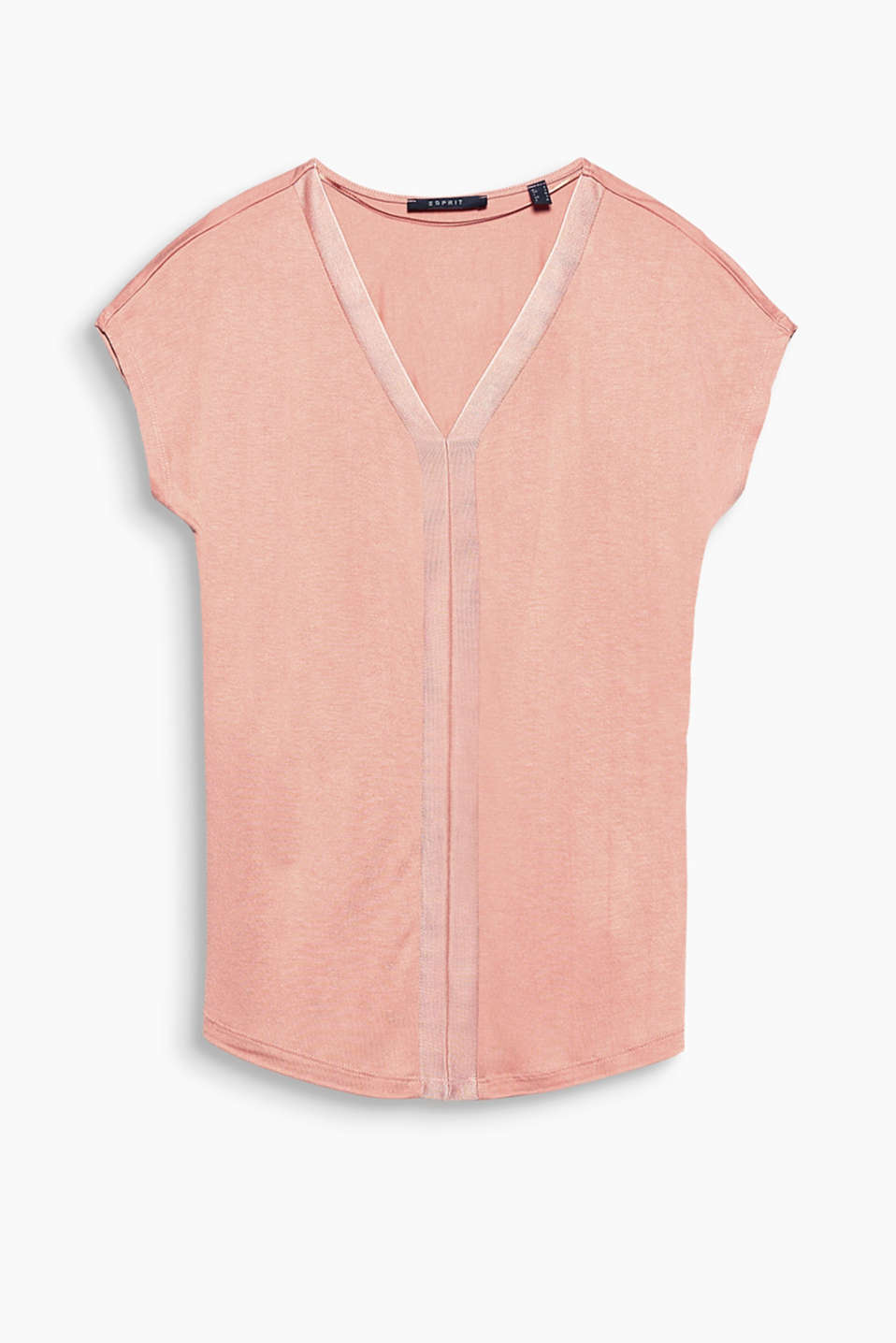 Flowing V-neck top with shiny ribbed trims