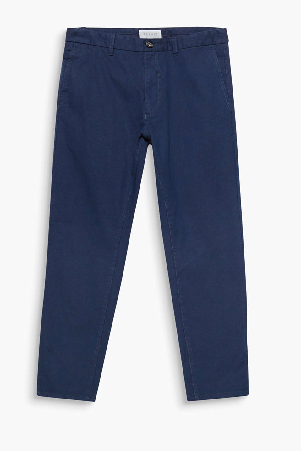 Cotton chinos with an interwoven pattern and added stretch for comfort