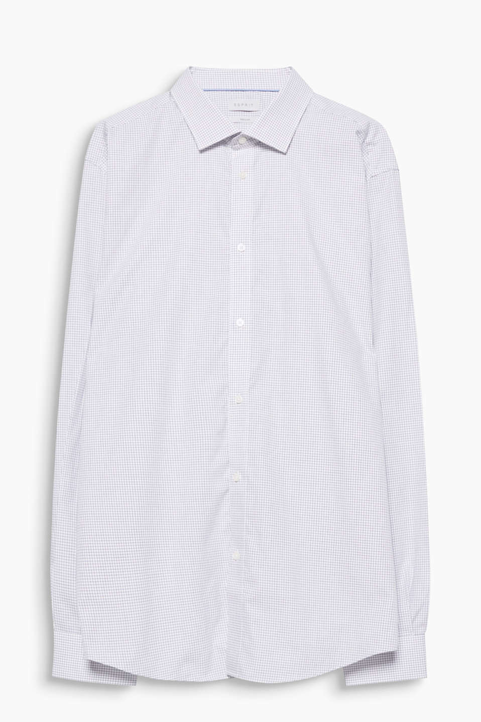 100% cotton shirt with a Kent collar and lattice pattern