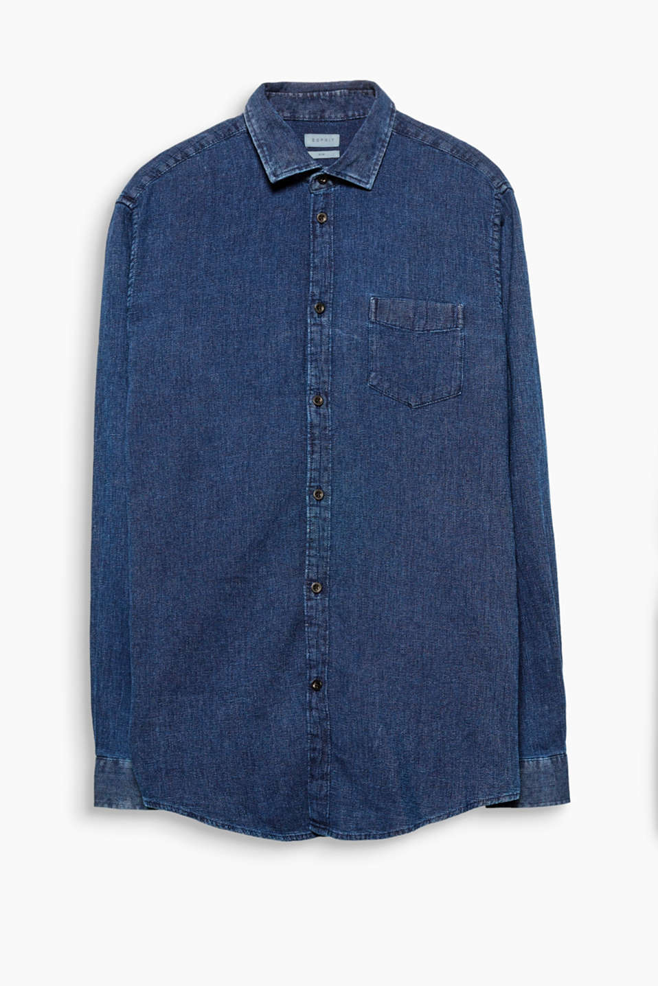 Textured cotton shirt with a shark collar and indigo dye