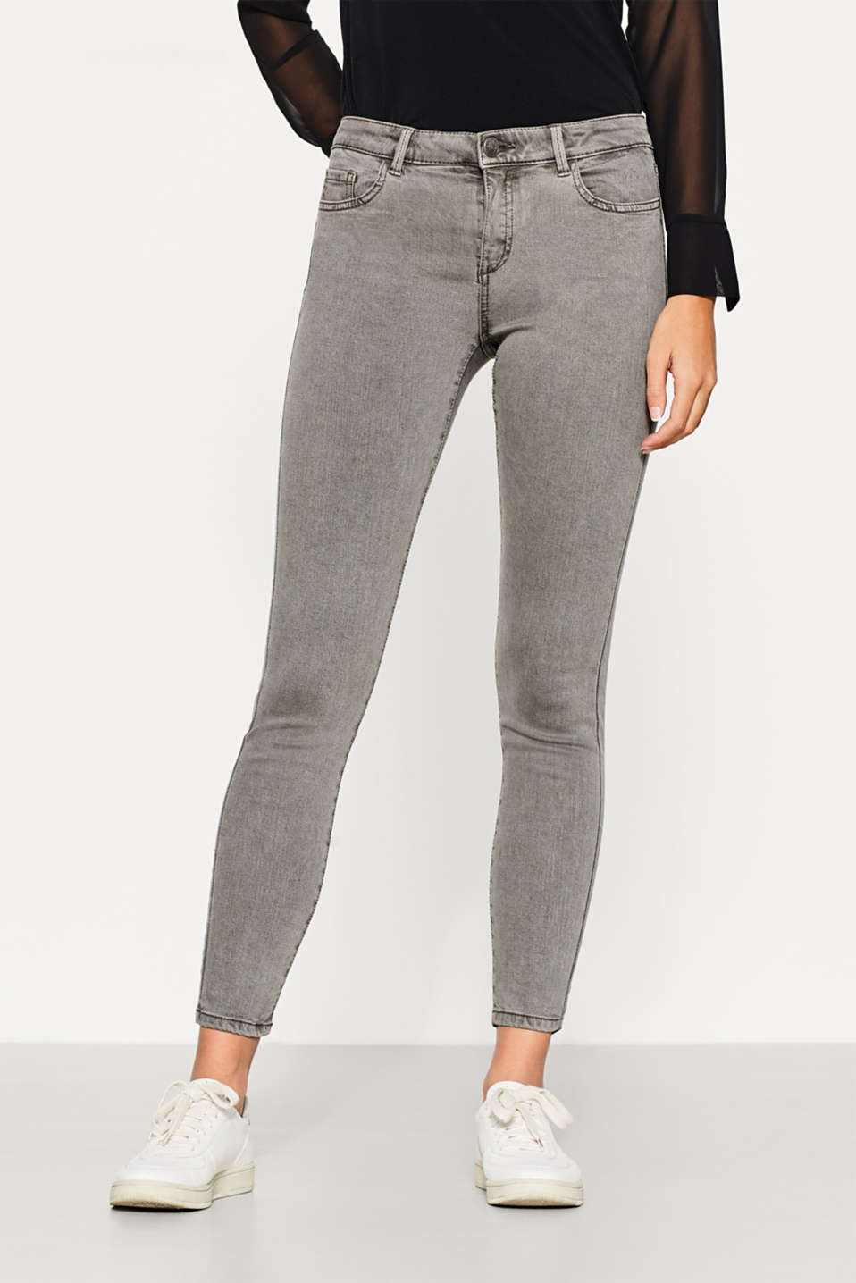 Esprit - Cropped trousers in stretchy blended cotton
