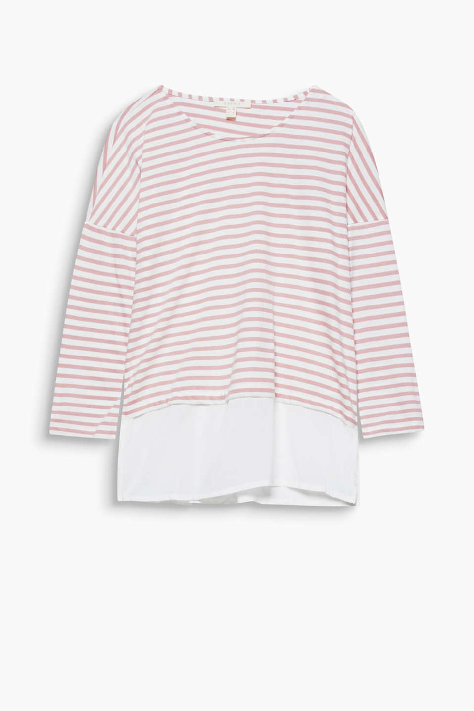 Everyday fave with a twist! T-shirt made of striped jersey combined with plain fabric