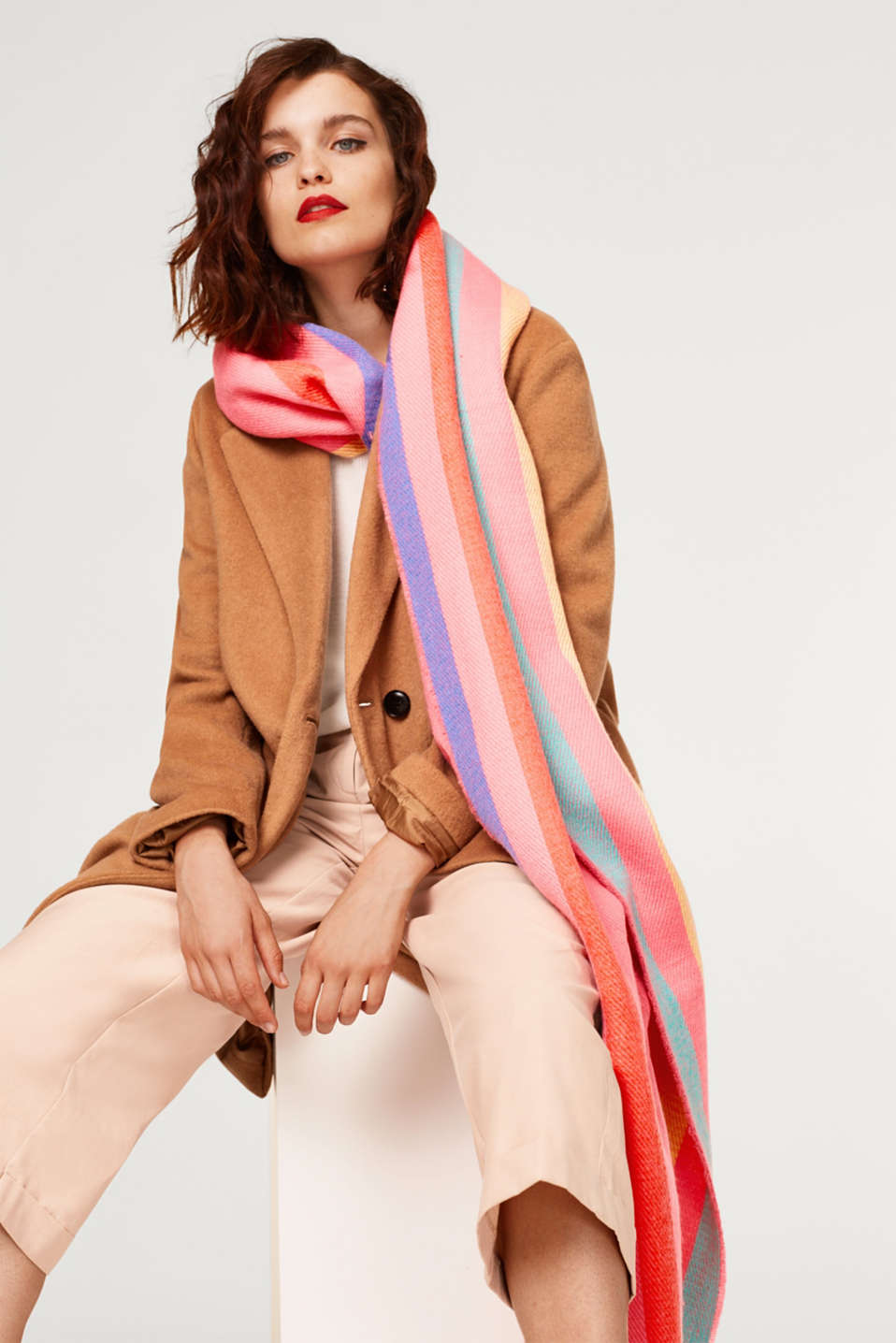 Oversized scarf with bold stripes