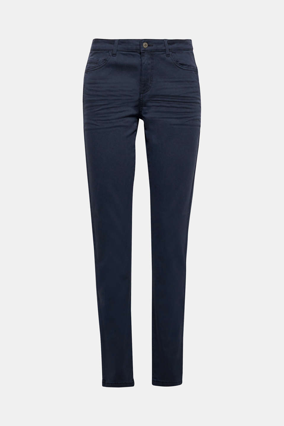 A classic fashion basic in lots of trendy colours: the whiskering gives these five-pocket stretch trousers made of cotton twill a cool styling update.
