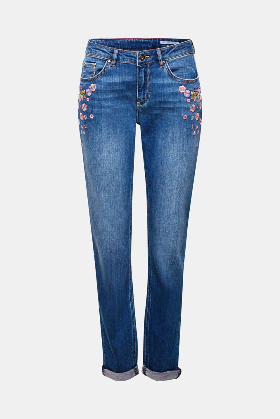 Your new denim star! The casual boyfriend cut and positioned embroidered flowers make these jeans a great fashion piece.