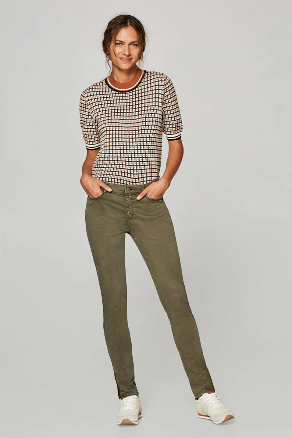 edc - Soft stretch trousers with a button placket and hem zips