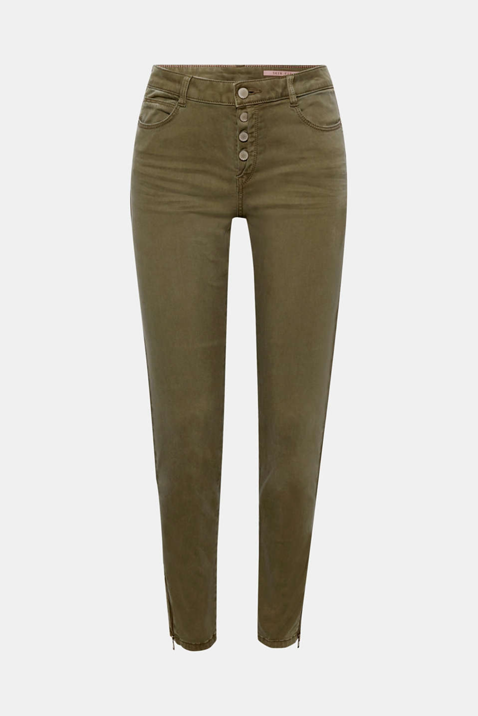 Delightfully soft with a cool button placket, sporty hem zips and a casual garment wash, these stretch trousers offer everything a girl could want!