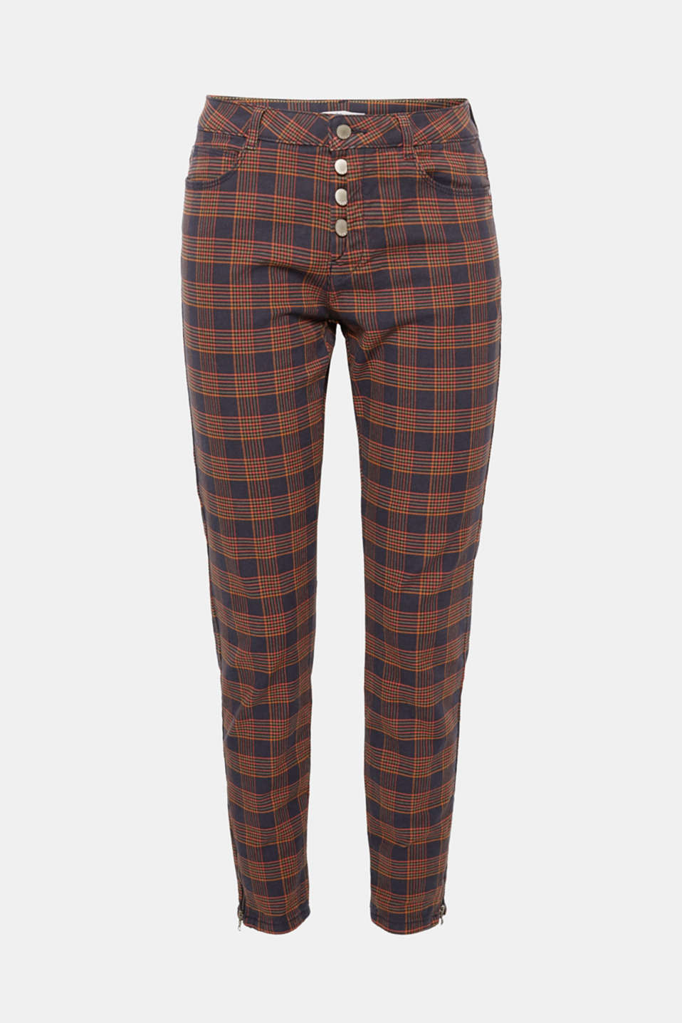 The colourful check pattern and semi-concealed button placket give these wonderfully soft stretch trousers their playful look!