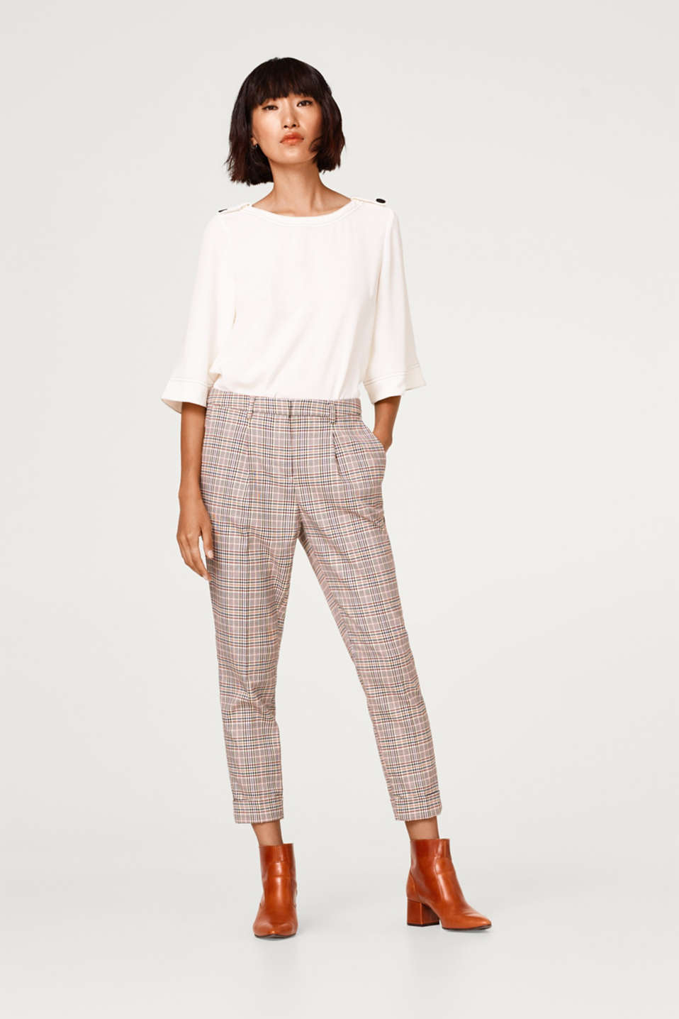edc - Cropped Prince of Wales check chinos with waist pleats