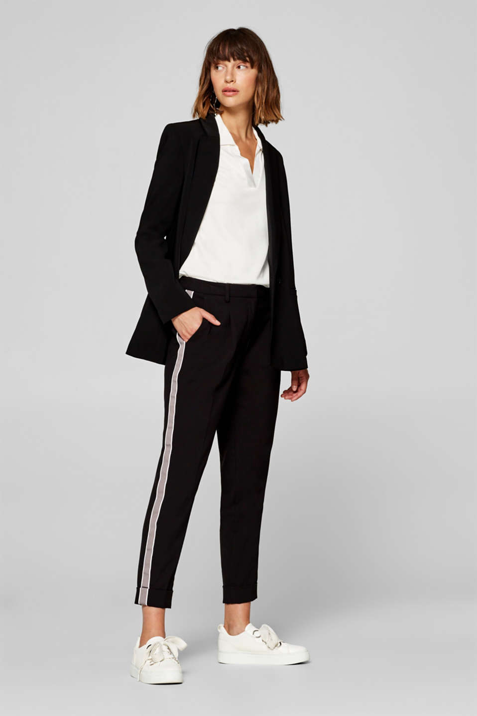 edc - Cropped stretch trousers with tuxedo stripes
