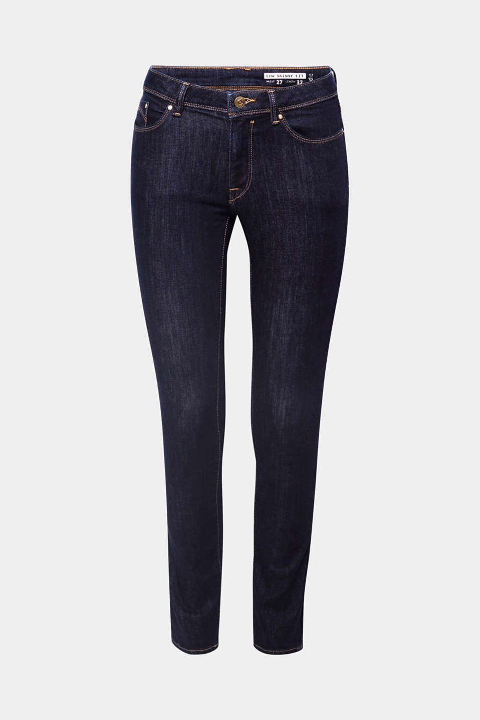 Cool denim basic containing premium, environmentally-friendly organic cotton: these skinny, stretch denim jeans are super comfy and create a stunning silhouette.