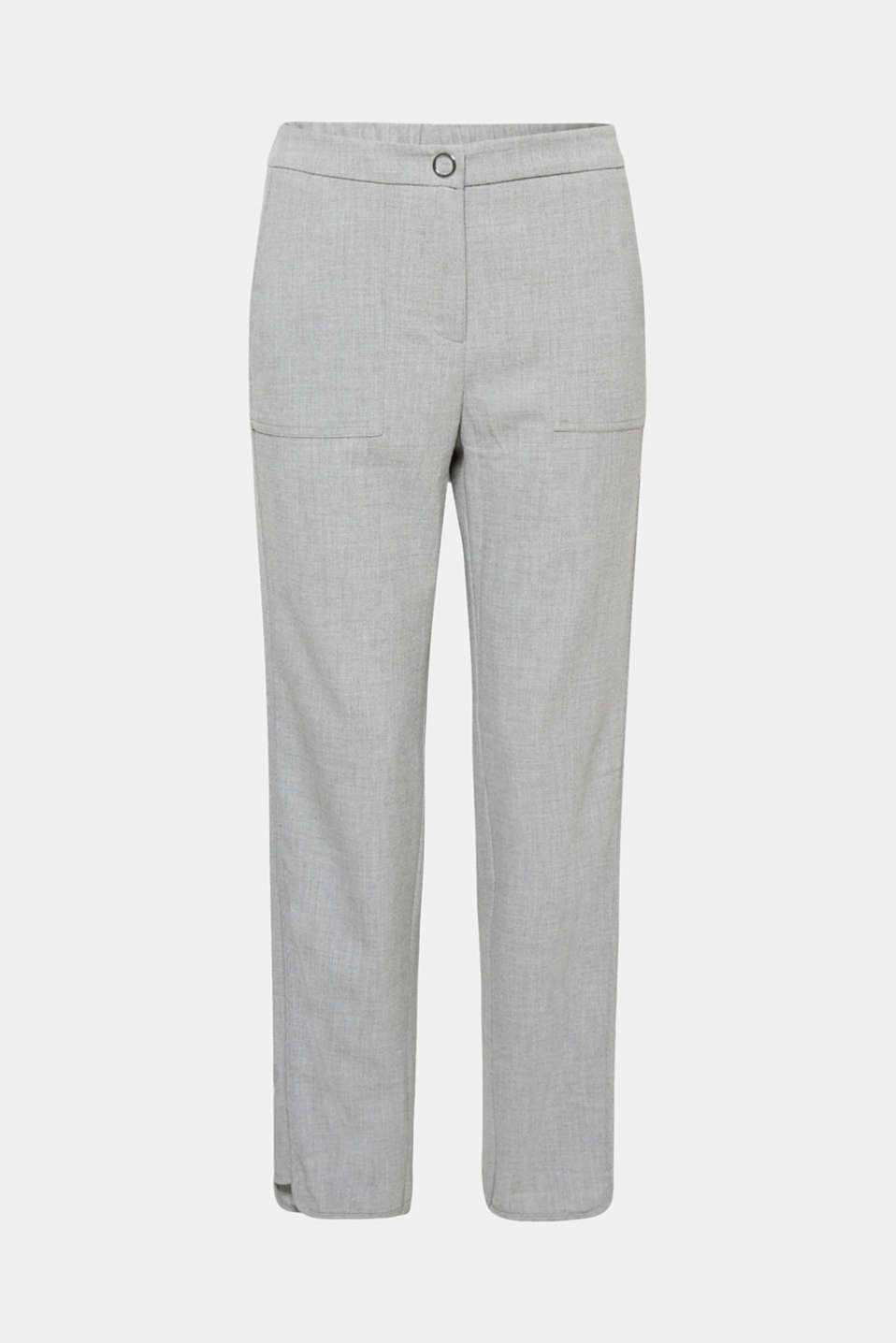Chic, casual and comfortable, these stretchy trousers get their special look from the combination of flowing crêpe, a comfortable elasticated waistband and tonal tuxedo stripes!
