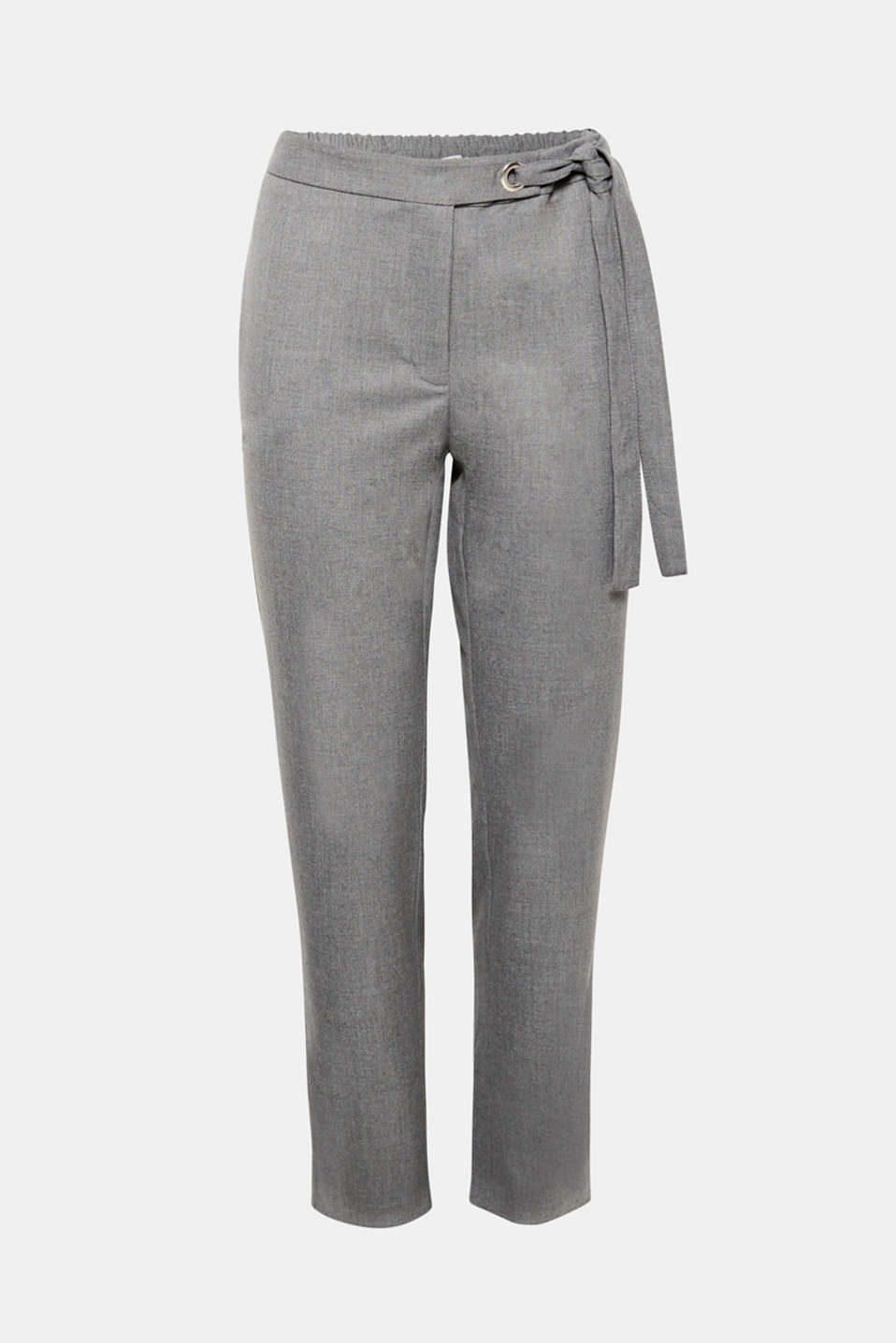 Casual and stylish at the same time: These trousers in stretchy crêpe fabric with ties on the sides skilfully combine a feminine, casual look with elegant style.
