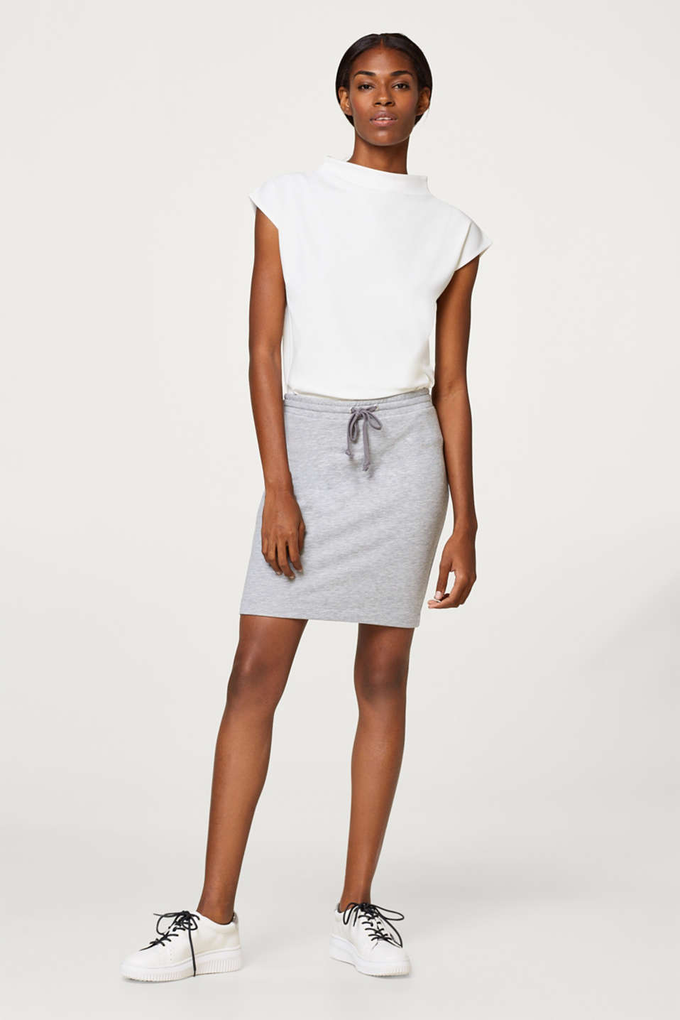 Melange sweatshirt skirt a with drawstring waistband