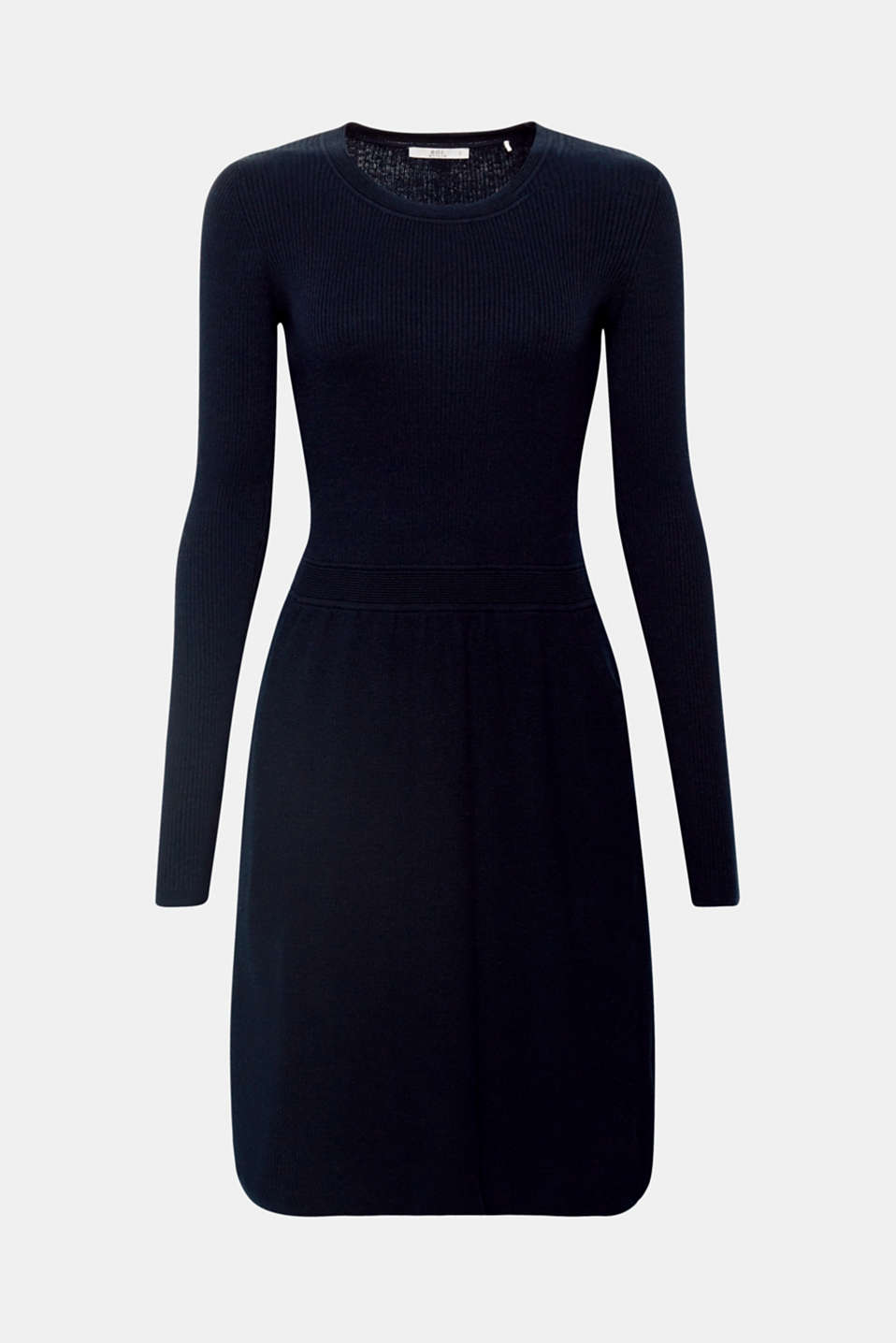 This flared, knit dress is the perfect, everyday fave that gets its unique look from the differently textured raised rib stitch and smooth stocking stitch.