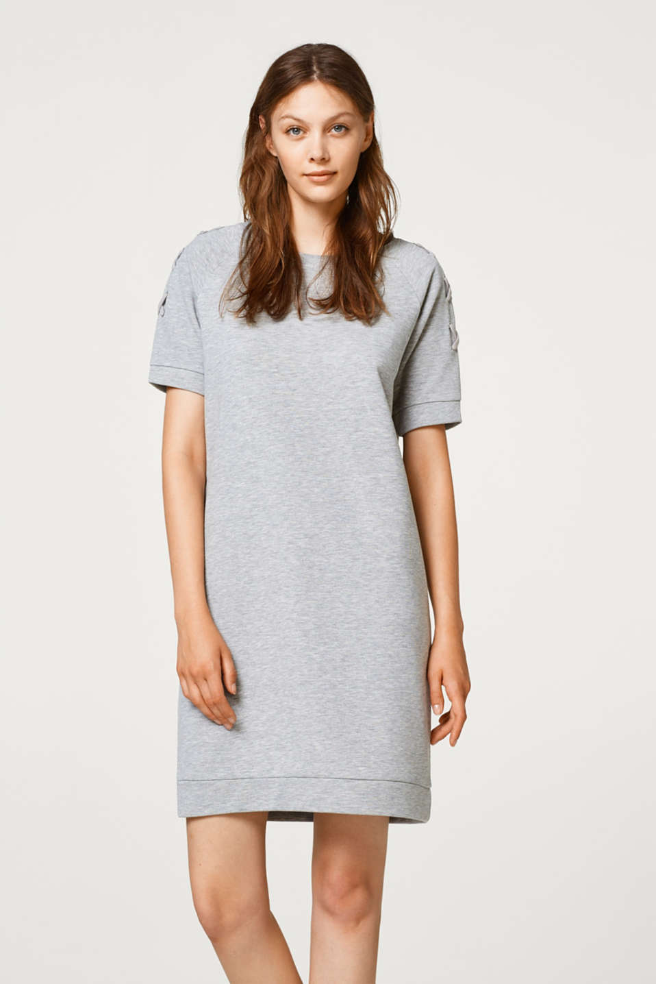 edc - Melange sweatshirt dress with lacing details