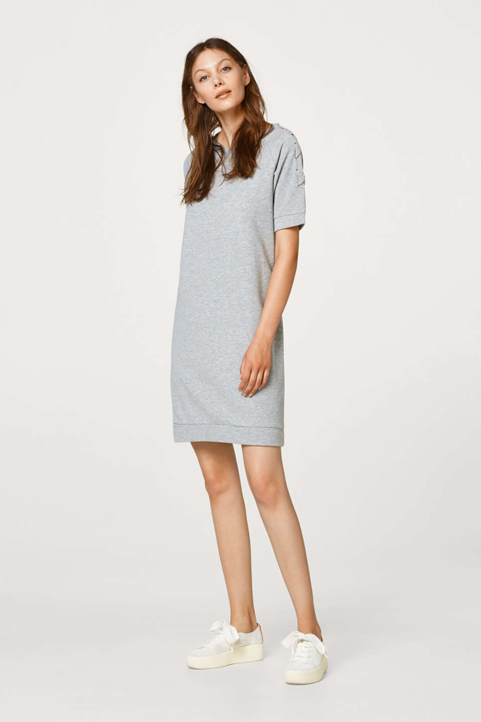 Melange sweatshirt dress with lacing details