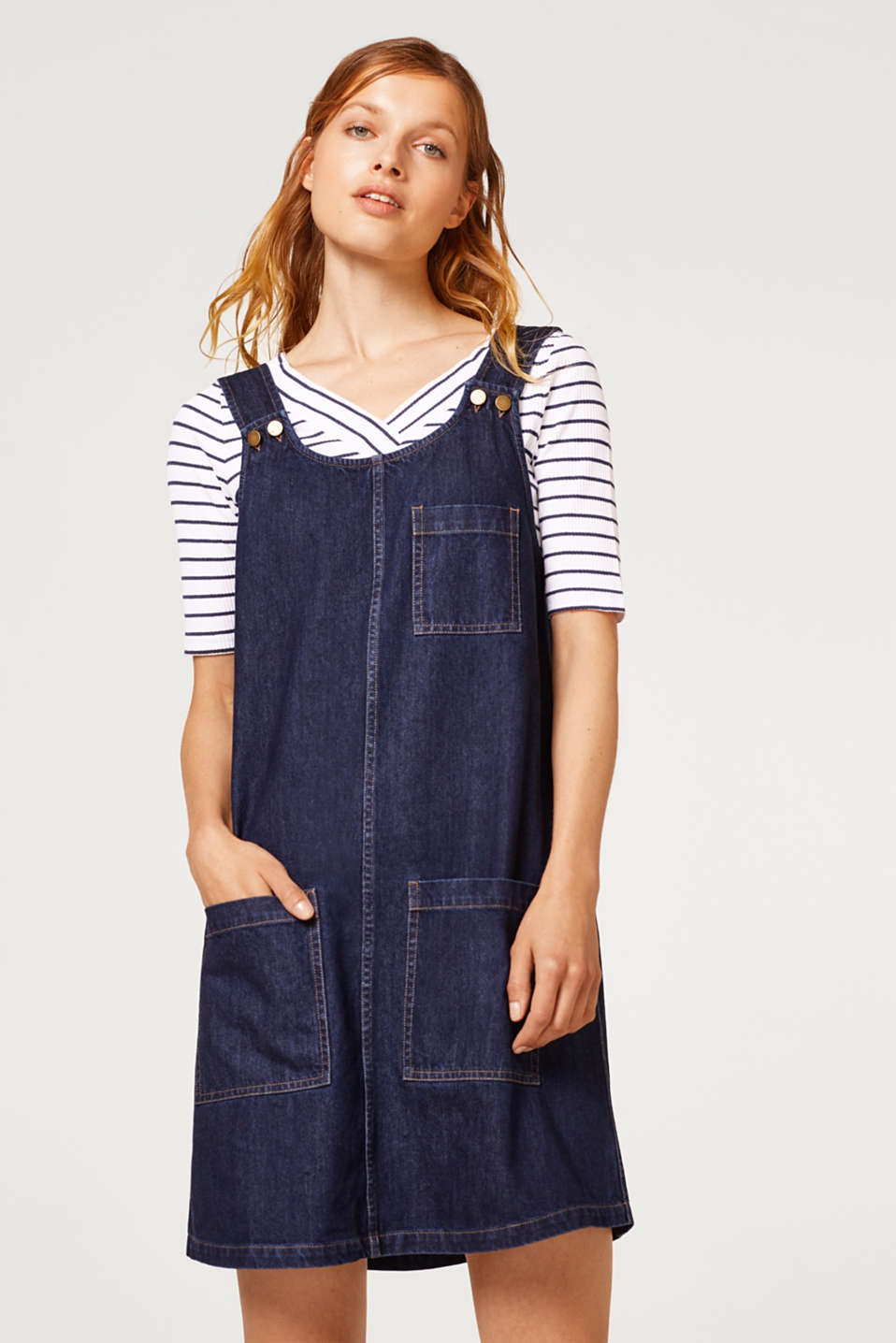 edc - Denim strap dress in 100% cotton
