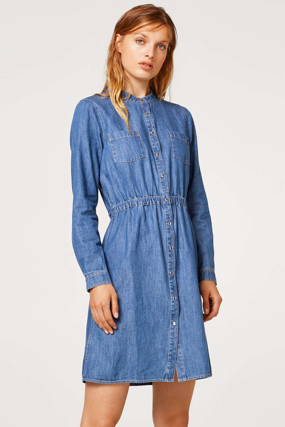 edc - Denim dress in a shirt style, 100% cotton