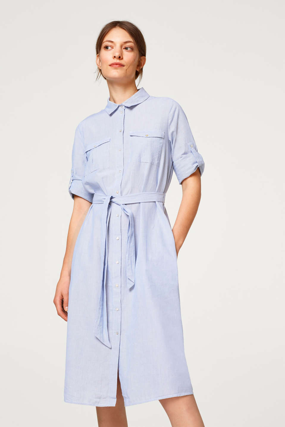 edc - Shirt dress made of 100% cotton