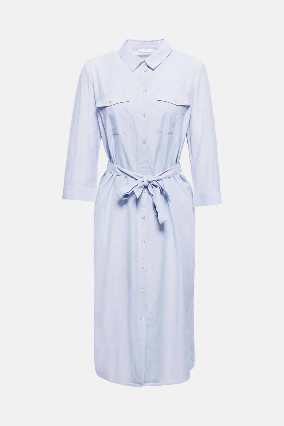 This finely striped shirt dress is a simple fashion piece, which enchants with mother-of-pearl buttons, an accenting tie-around belt and pure cotton fabric.