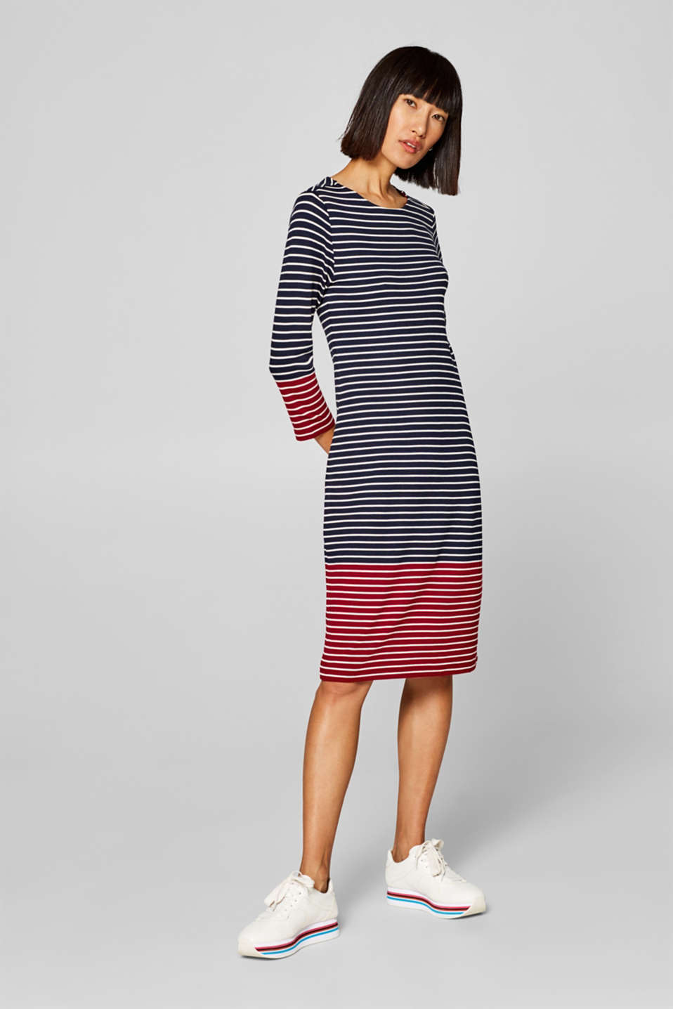 edc - Striped jersey dress with colour blocking