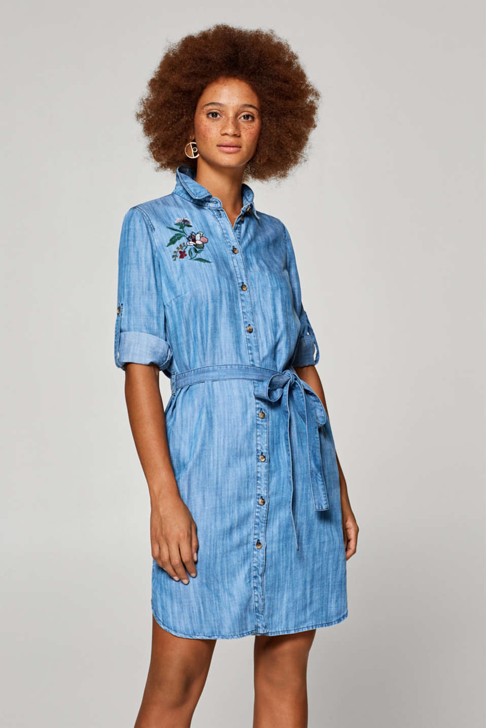 edc - Denim-effect lyocell dress with floral embroidery