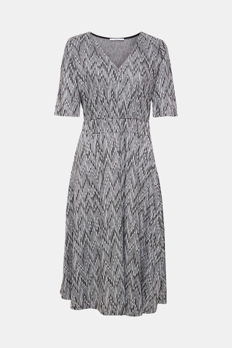 Extremely comfortable in a feminine look, this jersey dress in a fashionable midi length features a jacquard pattern in a zigzag design and a mock wrap-over effect!