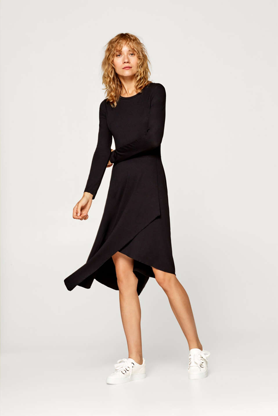 edc - Jersey dress with an asymmetric skirt