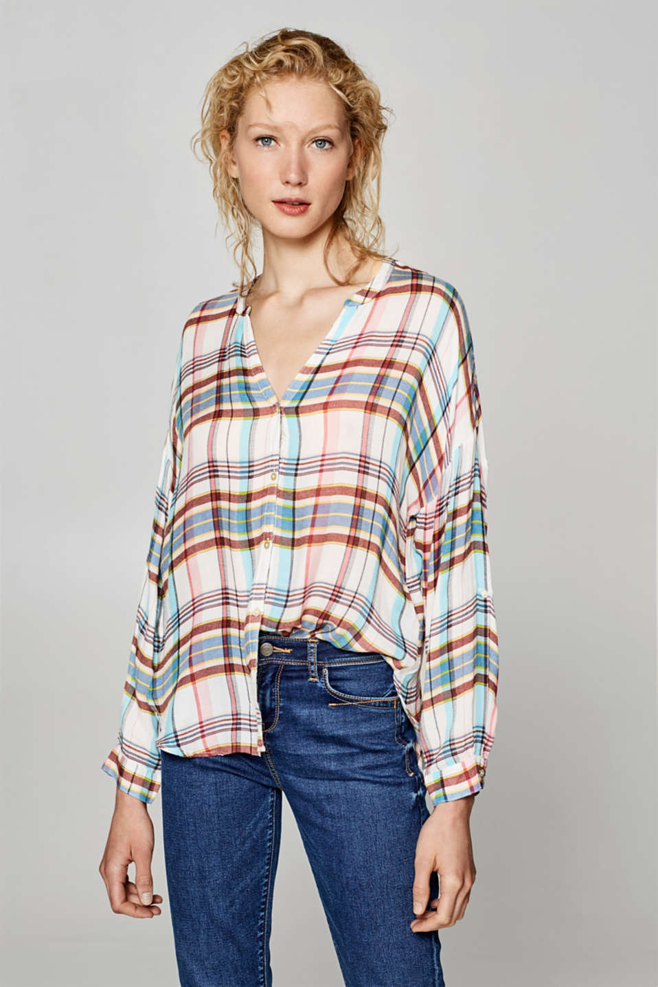 edc - Printed oversized blouse with turn-up sleeves