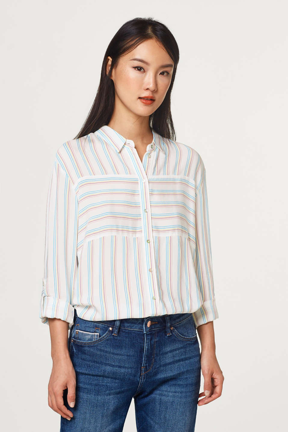 edc - Striped blouse with turn-up sleeves